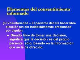 Elementos del consentimiento informado.