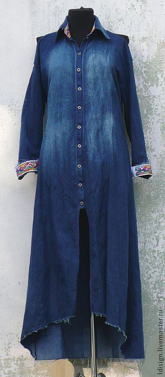 Длинная джинсовая рубашка. Handmade.