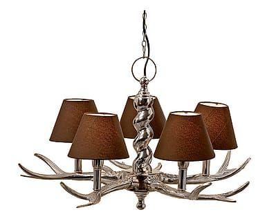 Lampadario 5 luci in alluminio Gewieh marrone, 48x61 cm