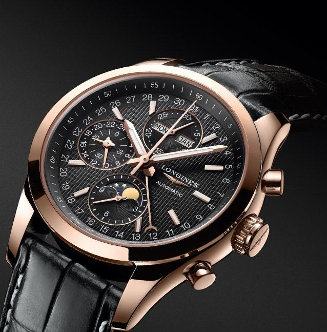 Longines conquest classic moonphase 18k rose gold case black dial - Prix longrines prefabriquees ...