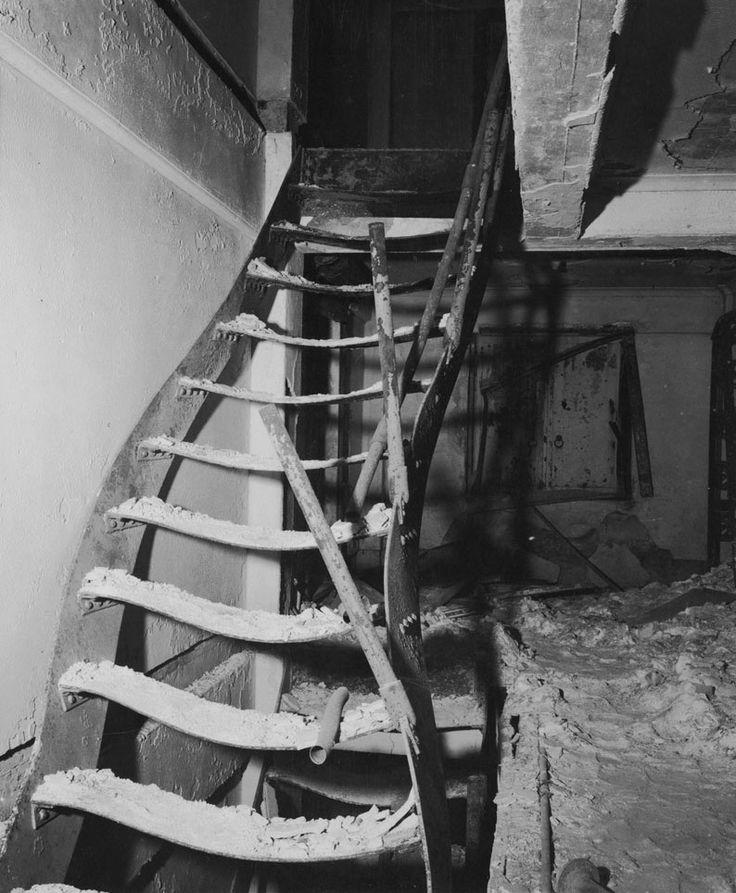 Warped staircase at the Asano Library in Hiroshima, Japan, 15 Nov 1945.