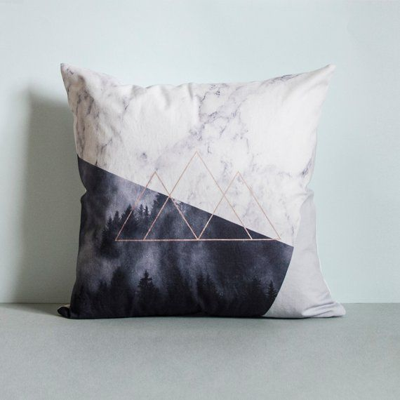 Geometric mountain Pillow Cover Marble