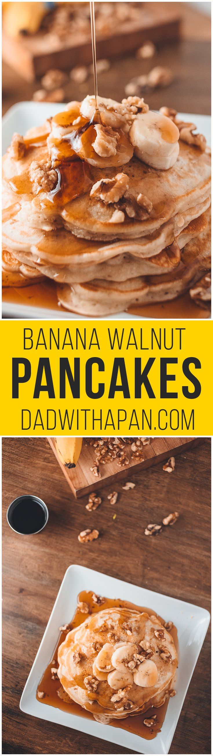 Banana Walnut Pancakes - Dad With A Pan-made them this morning & yummy!