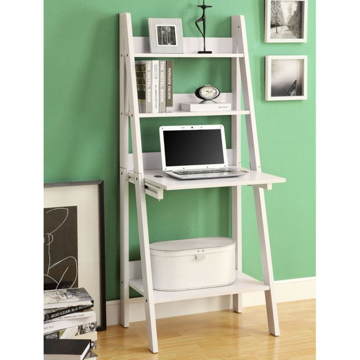 Monarch 61 in. Ladder Bookcase with Drop Down Desk - White - Desks at Hayneedle