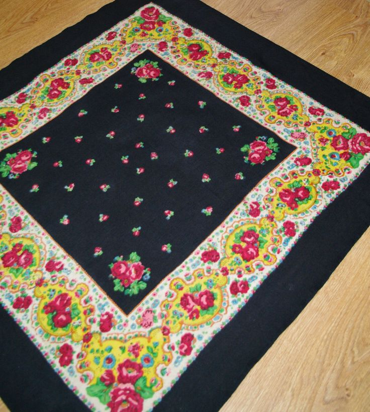 Big Black Polish Wool Shawl / Russian Shawl / Ukrainian shawl / Floral square headscarf / Roses Neck scarf neckerchief Babushka kerchief 70s by VintagePolkaShop on Etsy