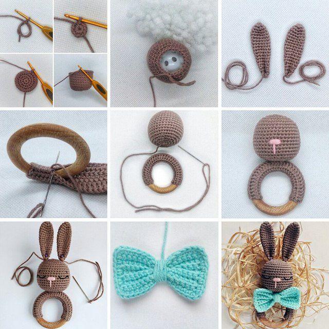 Crochet bunny teether pattern, Baby Rabbit Rattle, Wooden Teething Ring bunny, Bunny Boy Sleepy EN (tutorial PDF file)