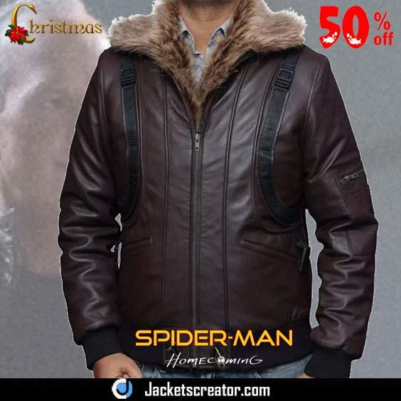 aa2492086 Bomber Spiderman Homecoming Vulture Jacket with Fur Collar ...