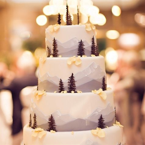 Mountain cake, complete with pine trees!