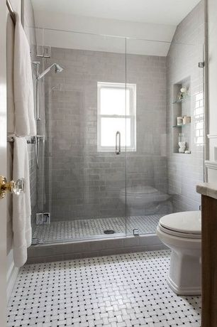 Contemporary Master Bathroom With Handheld Showerhead Complex Marble Counters Double Hung Window ShowerGray