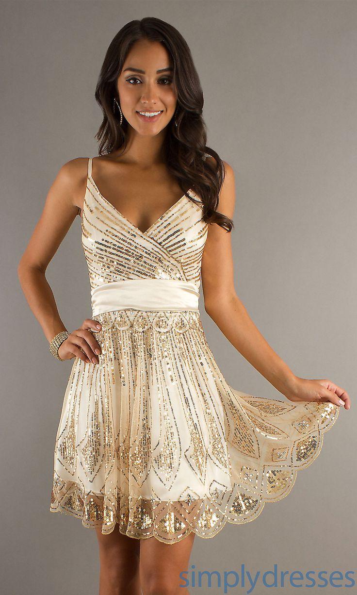 Dress, Sequin Embellished V-Neck Short Dress - Simply Dresses