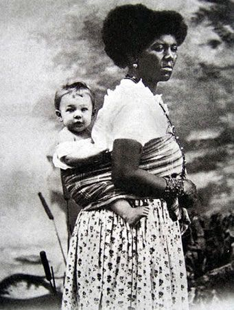 Studio portrait of wet nurse/nanny & child, Salvador,1880s. From an academic study of the fascinating history of studio photography of white children and black nannies in the last decades of the C19.