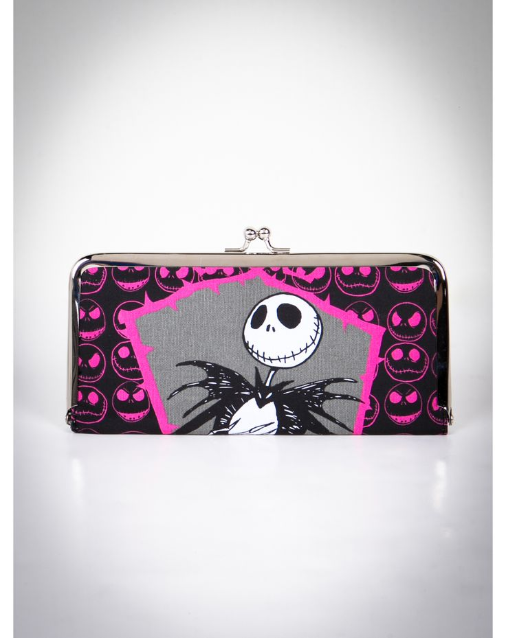 Nightmare Before Christmas Jack Face Skulls Kisslock Wallet pink and black