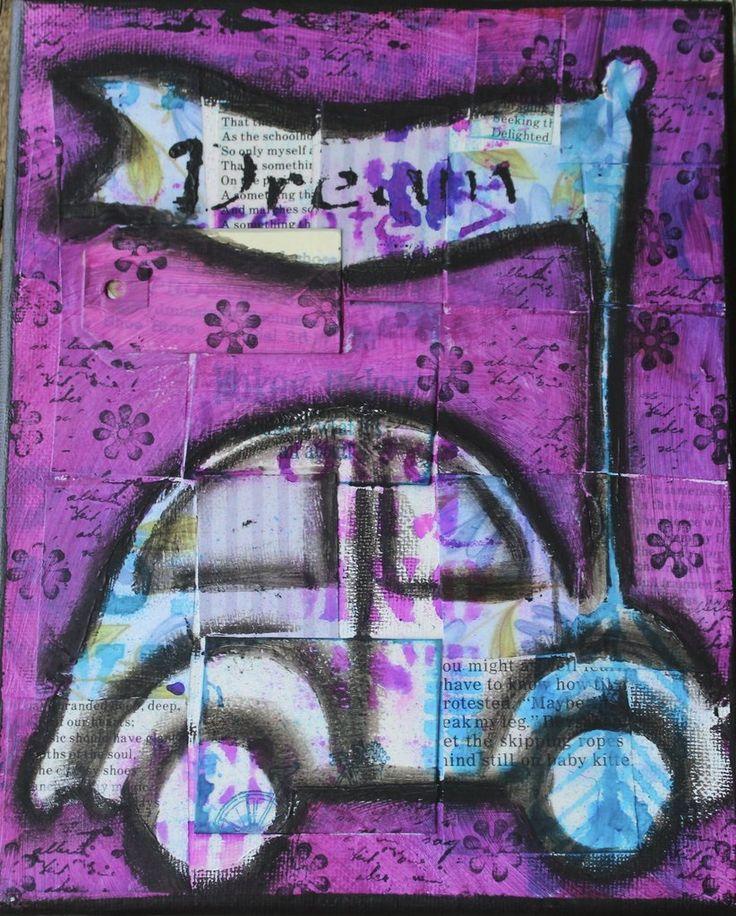 "Boho Dream pink bunch buggy 4 x 6"" card, blank inside"