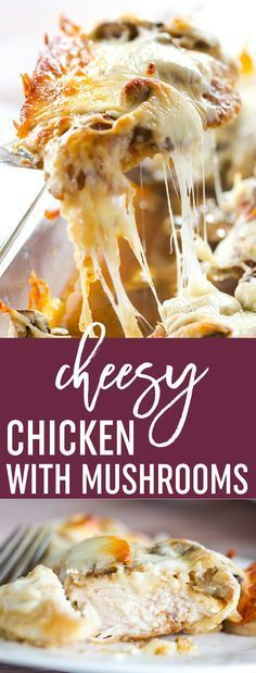 Cheesy Chicken with Mushrooms - Breaded chicken cutlets layered with sliced mushrooms and mozzarella. Easy dinner! | browneyedbaker.com via @browneyedbaker