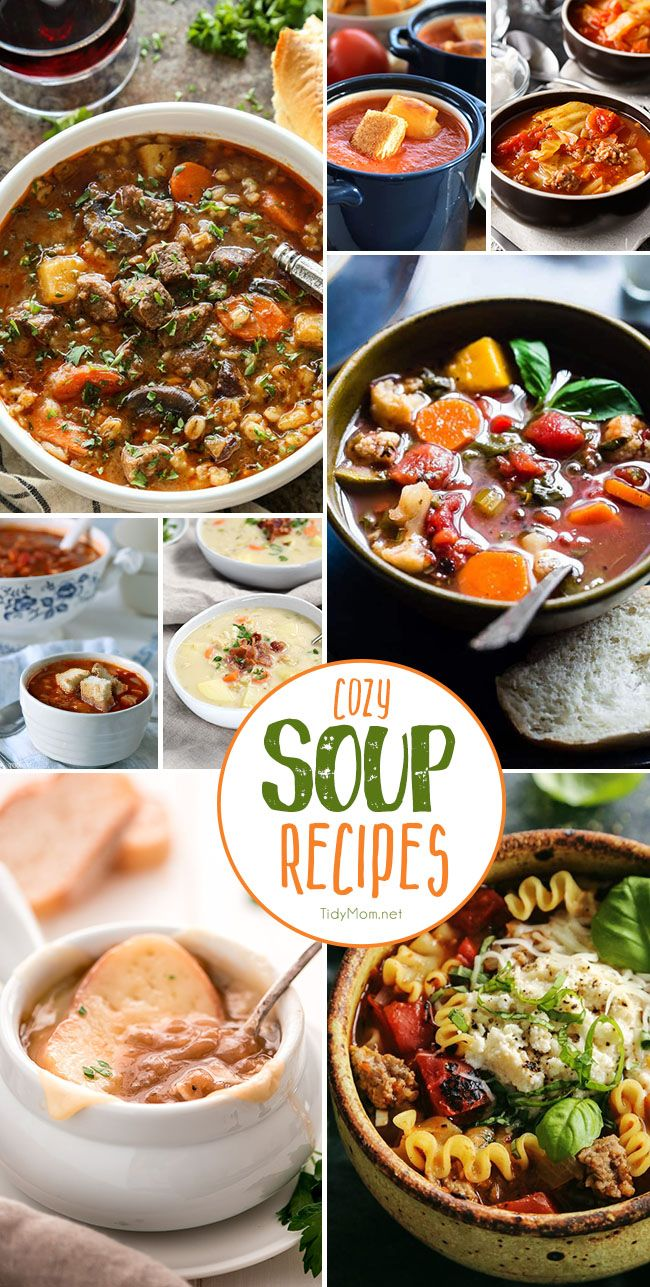 Cozy Soup Recipes to keep you warm!  get all the recipes at TidyMom.net