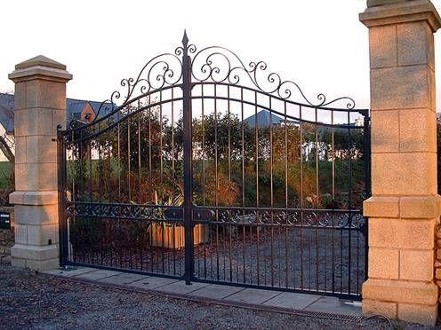 Fabricant, portail, portillon, grille, clôture, en, fer, forgé, métallique, acier, Ferronnerie, d Art