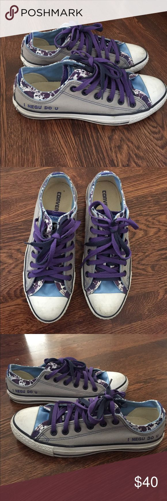 """Custom Converse All Stars-Size 7.5 M/ W 9.5 Custom Made Converse AllStars Men's 7 1/2 or women's 9 1/2 Theme is """"I NEGU Do You?""""  NEGU stands for Never Ever Give Up Shoes have barely been worn Converse Shoes Sneakers"""
