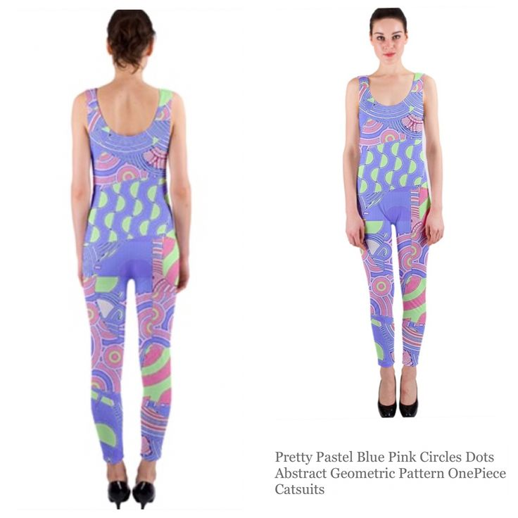 One piece catsuit.  Pretty pastel blue pink circles dots abstract geometric pattern.