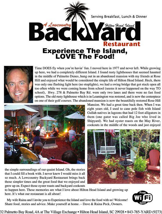A lowcountry backyard restaurant hilton head. Lowcountry cuisine.