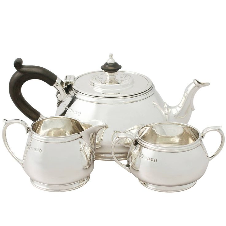 Sterling Silver Three-Piece Bachelor Tea Service, Antique George V | From a unique collection of antique and modern tea sets at https://www.1stdibs.com/furniture/dining-entertaining/tea-sets/