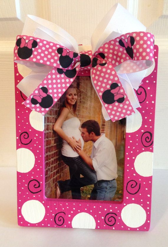 Pink Polka Dot Minnie Mouse Picture Frame by SavvySweetBoutique, $20.00