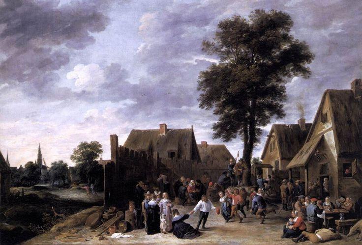 Давид Тенирс Младший. Сельский праздник в кабачке «Полумесяц», Дрезденская галерея Год: 1641