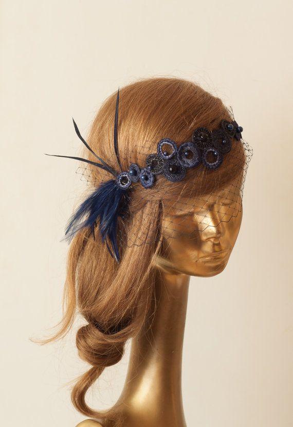 BIRDCAGE VEIL. Navy Blue Veil .Vintage Wedding Headpiece by ancoraboutique, $119.00
