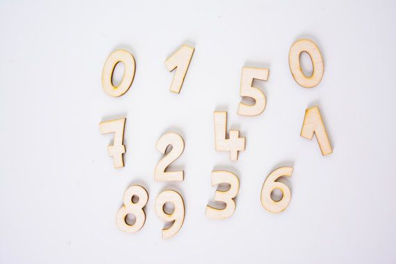 set of small wooden number digit unfinished wooden scrapbooking shape, laser cut natural, plain, wood, birthday, childrens room anniversary
