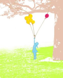"""""""Balloon girl"""" necklace by Lilianadesign featured in sosuperawesome.com"""