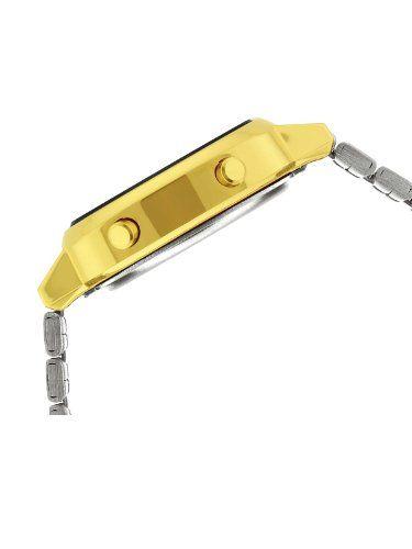 Modèle Casio résoluement rétro avec sont bracelet en acier inoxydable doré avec fermoir à deux plis auto-ajustable