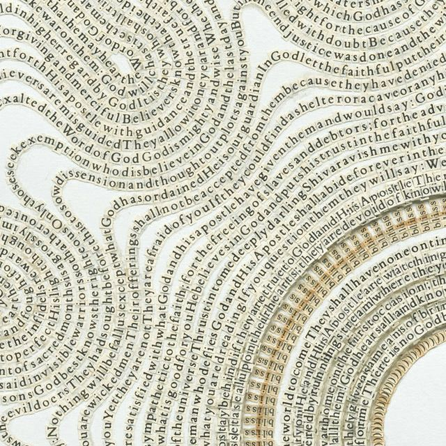 text drawings created from cutting letters from books and religious texts, by artist meg hitchcock.
