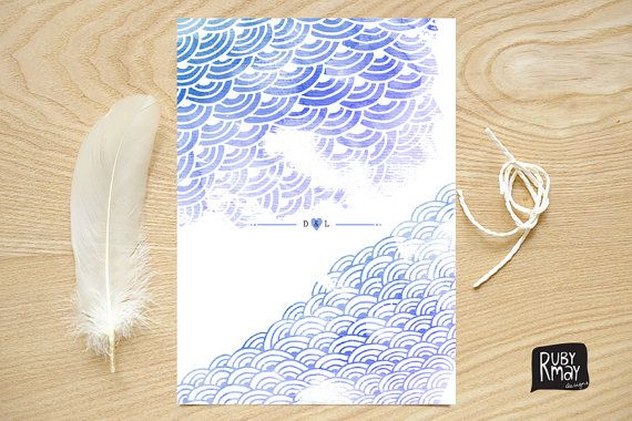 Japanese waves wedding invite printed sample by RubyMayDesign