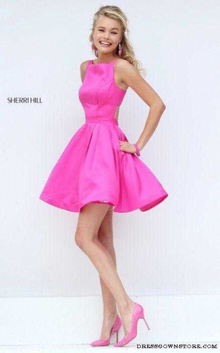 Sherri Hill 50427 Fuchsia Short Satin A Line Prom Dress