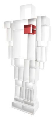 Robox Bookcase - L 78 cm x H 184 cm White / Red heart by Casamania