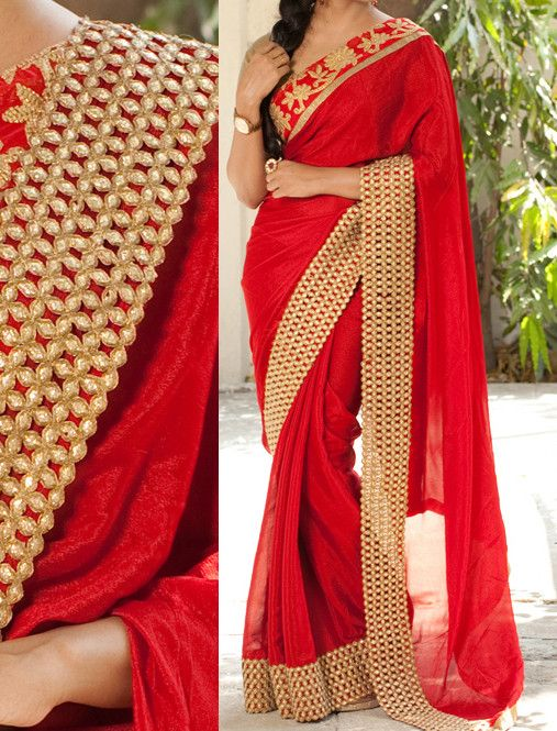 Red Color Georgette Saree - Rs. 2250.00