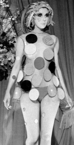 Peggy Moffitt wearing Rudy Gernreich's plastic dot dress 1960's