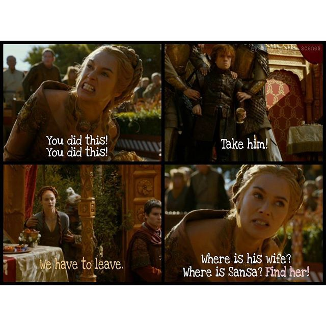 PART 4 --- After being sad, Cersei's mood immediatly changed to angry - she wanted revenge. And she already found a victim for her hate: Tyrion. Joffrey pointed with his finger to Tyrion before he died. Cersei wanted him and his wife Sansa to pay for Joffrey's death. But Sansa was on the way to go. Ser Dontos is with her, they. They fled together. Unseen. --- The last part of the purple wedding. Hope you liked it  --- Please check out the beautiful page of  @game_of_thrones_russian_club  ...