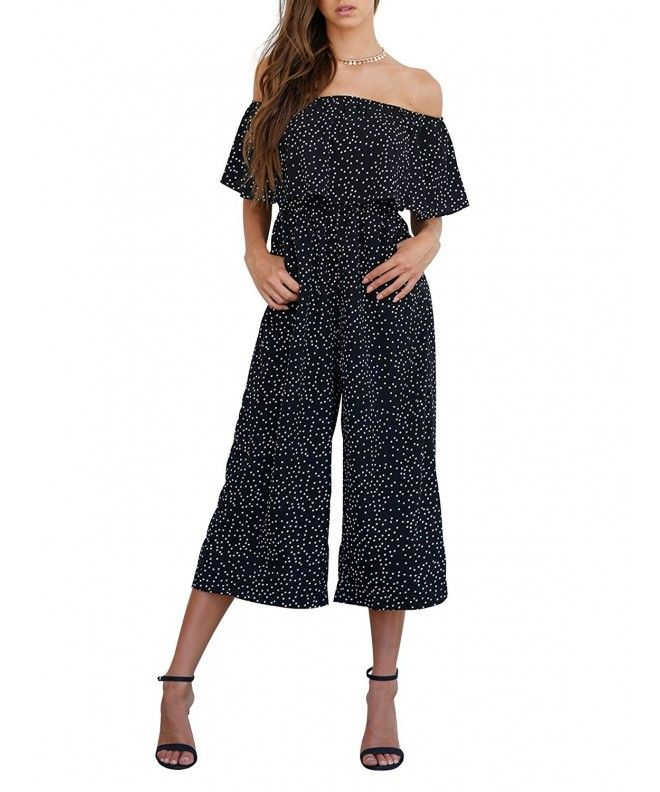 a413dccd5d Women s Sexy Off Shoulder High Waist Wide Leg Jumpsuit Romper - Dot -  C8183CW79R9