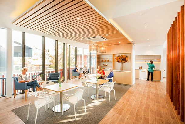 Mornington Aged Care Cafe with custom made upholstered  armchairs.