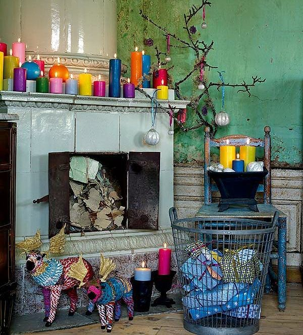 The collection of bright coloured candles is stunning! (Dishfunctional Designs: A Beautiful Bohemian Christmas)
