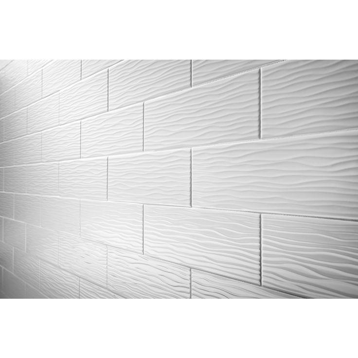 Shop Allen Roth Wavecrest White Gloss Ceramic Indoor