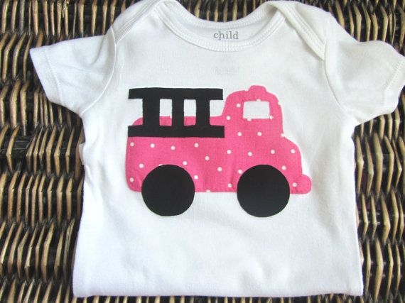 Baby Girl Clothes Onesie  Baby Girl Fire Truck by SewLovedBaby, $16.99