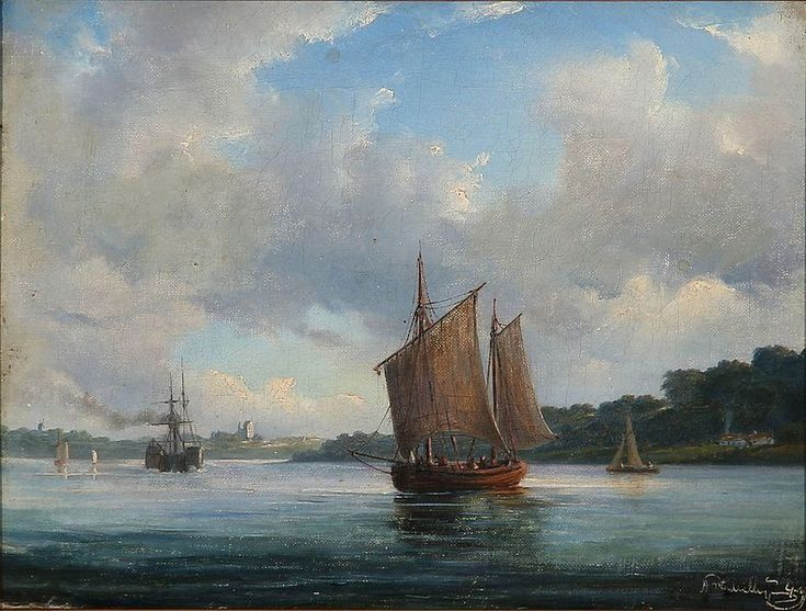 File:Anton Melbye - Fjord scene med fiskerbåde og en hjuldamper (1849).jpg
