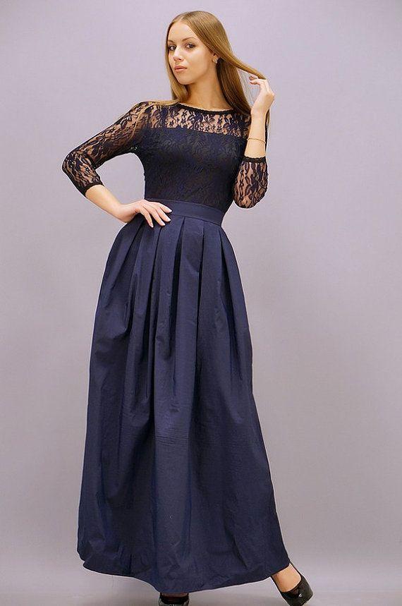 Scuro vestito blu Maxi abiti/semplice Wedding/abiti da sera/abiti partito abiti/pizzo blu Top/mini abito/donna partito/cerchio /