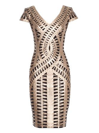 'Contours' Gold PU Bind Ponte Dress - this dress is amazing! It's elegance going into battle.
