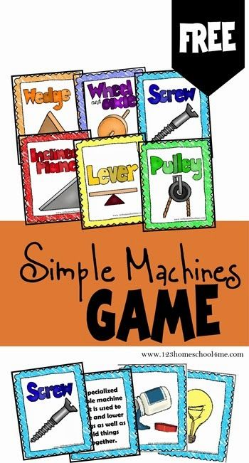 FREE!! Simple Machines Game is a free printable science game for Kindergarten - 5th grade students to learn about the six simple machines:Wedge, Wheel & Axel, Screw, Inclined Plane, Lever, and Pulley. Great for hands on science activities, review or summer learning!