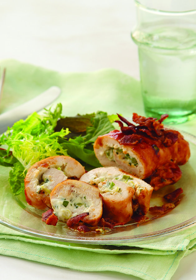 Creamy Stuffed Chicken Roll-Ups – This chicken recipe is filled with cream cheese and green onions then topped with tangy BBQ sauce and crisp bacon for a creamy, crunchy, flat-out delicious dinnertime dish!