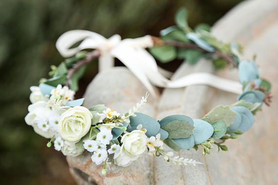 White Or Blush Pink Sage Eucalyptus Flower Crown Side Flower Etsy Flower Crown Wedding Flower Crown Bride Flower Crown Bridesmaid