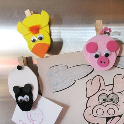 Cute magnet animals from clothespins and foam shapes.  The kids can help you make them and then use them to display their own art on the refrigerator!