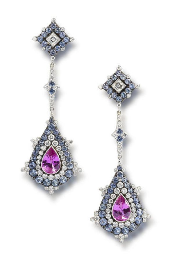A pair of coloured sapphire & diamond earrings, set with a step-cut diamond within a circular-cut sapphire surround &  round brilliant-cut diamond highlights, suspending a line of similarly-cut stones, terminating in a pear-cut pk sapphire within a surround of round brilliant-cut diamonds & sapphires, mounted in 18k white gold, the  sapphires estimated to weigh approximately 10.00 carats in total, the diamonds estimated to weigh approx. 2.00 carats in total, signed 'Villa',